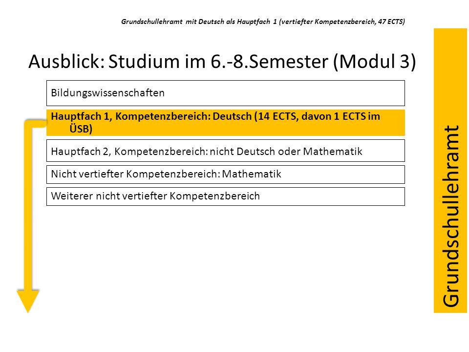 Ausblick: Studium im 6.-8.Semester (Modul 3) Bildungswissenschaften Hauptfach 1, Kompetenzbereich: Deutsch (14 ECTS, davon 1 ECTS im ÜSB) Hauptfach 2,