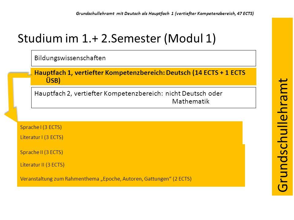 Grundschullehramt mit Deutsch als Hauptfach 1 (vertiefter Kompetenzbereich, 47 ECTS) Studium im 1.+ 2.Semester (Modul 1) Bildungswissenschaften Hauptfach 1, vertiefter Kompetenzbereich: Deutsch (14 ECTS + 1 ECTS ÜSB) Hauptfach 2, vertiefter Kompetenzbereich: nicht Deutsch oder Mathematik Sprache I (3 ECTS) Literatur I (3 ECTS) Literatur II (3 ECTS) Sprache II (3 ECTS) Veranstaltung zum Rahmenthema Epoche, Autoren, Gattungen (2 ECTS) Grundschullehramt