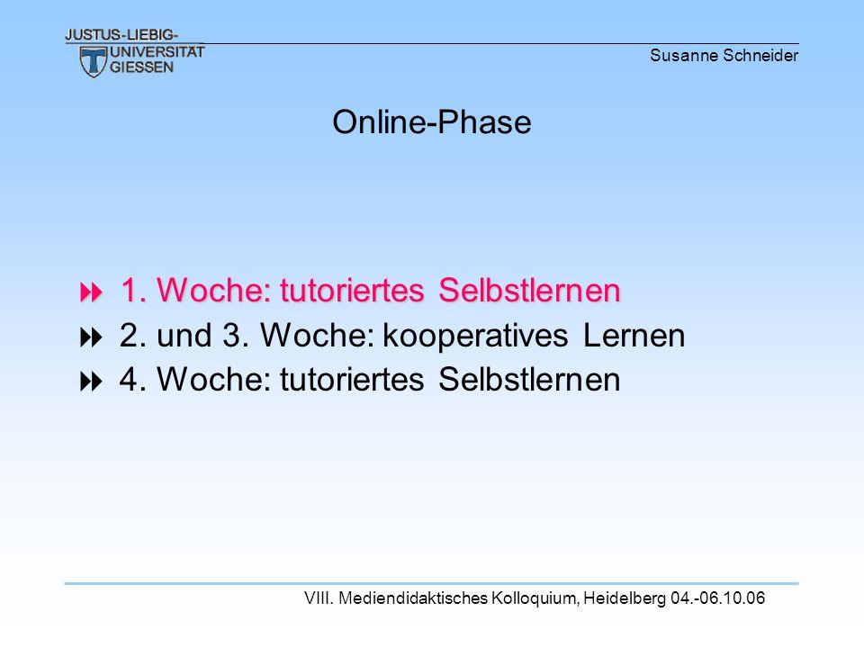 Susanne Schneider VIII. Mediendidaktisches Kolloquium, Heidelberg 04.-06.10.06 1. Woche: tutoriertes Selbstlernen 1. Woche: tutoriertes Selbstlernen 2