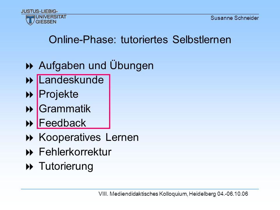 Susanne Schneider VIII. Mediendidaktisches Kolloquium, Heidelberg 04.-06.10.06 Aufgaben und Übungen Landeskunde Projekte Grammatik Feedback Kooperativ