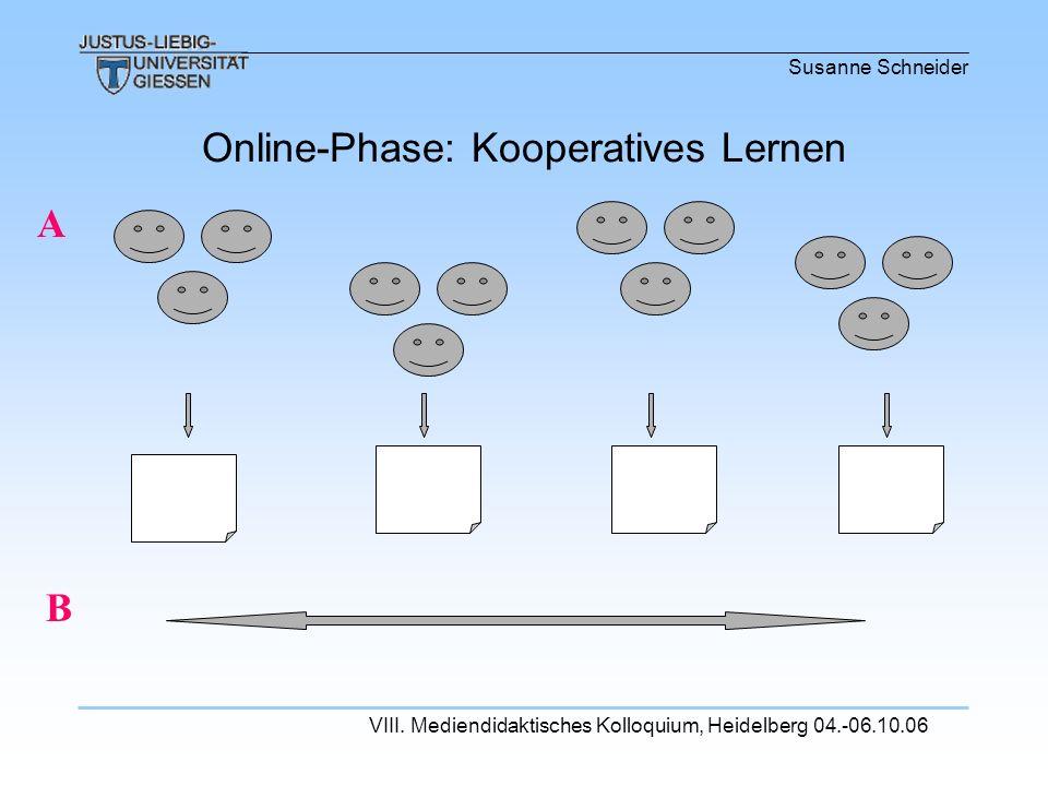 Susanne Schneider VIII. Mediendidaktisches Kolloquium, Heidelberg 04.-06.10.06 Online-Phase: Kooperatives Lernen A B