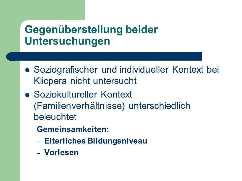 Gegenüberstellung beider Untersuchungen Soziografischer und individueller Kontext bei Klicpera nicht untersucht Soziokultureller Kontext (Familienverh