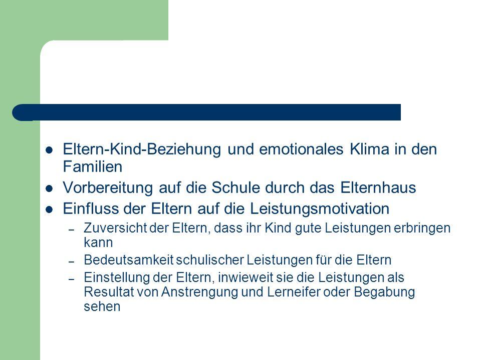 Eltern-Kind-Beziehung und emotionales Klima in den Familien Vorbereitung auf die Schule durch das Elternhaus Einfluss der Eltern auf die Leistungsmoti