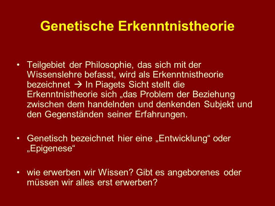 Genetische Erkenntnistheorie Teilgebiet der Philosophie, das sich mit der Wissenslehre befasst, wird als Erkenntnistheorie bezeichnet In Piagets Sicht