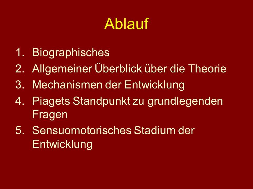 Ablauf 1.Biographisches 2.Allgemeiner Überblick über die Theorie 3.Mechanismen der Entwicklung 4.Piagets Standpunkt zu grundlegenden Fragen 5.Sensuomo