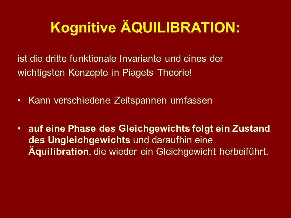 Kognitive ÄQUILIBRATION: ist die dritte funktionale Invariante und eines der wichtigsten Konzepte in Piagets Theorie! Kann verschiedene Zeitspannen um