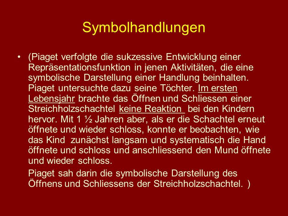 Symbolhandlungen (Piaget verfolgte die sukzessive Entwicklung einer Repräsentationsfunktion in jenen Aktivitäten, die eine symbolische Darstellung ein