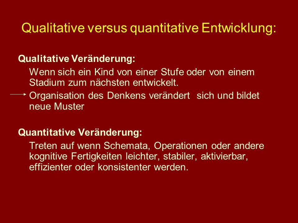 Qualitative versus quantitative Entwicklung: Qualitative Veränderung: Wenn sich ein Kind von einer Stufe oder von einem Stadium zum nächsten entwickel