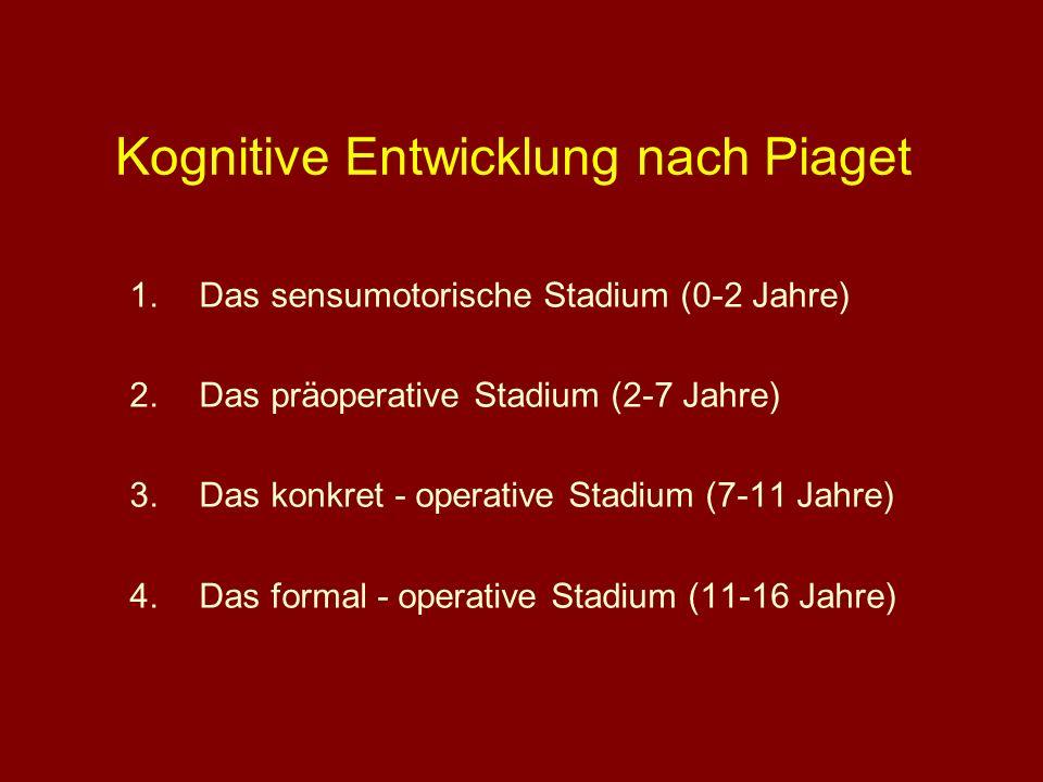 Kognitive Entwicklung nach Piaget 1.Das sensumotorische Stadium (0-2 Jahre) 2.Das präoperative Stadium (2-7 Jahre) 3.Das konkret - operative Stadium (