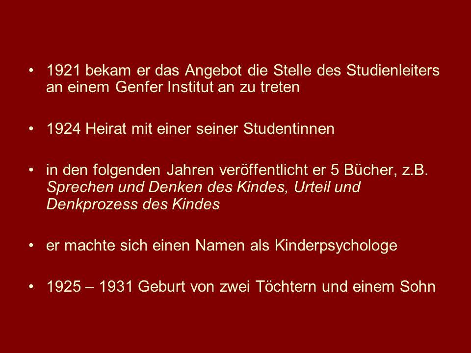 1921 bekam er das Angebot die Stelle des Studienleiters an einem Genfer Institut an zu treten 1924 Heirat mit einer seiner Studentinnen in den folgend