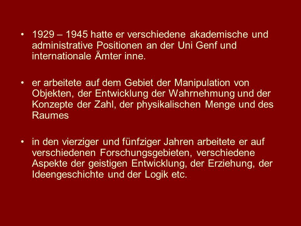1969 wird Piaget von der American Psychological Association mit dem Distinguished Scientific Contribution Award ausgezeichnet – für seine revolutionäre Beschreibung der Natur des menschlichen Wissens und der biologischen Intelligenz insgesamt hat er mehr als 40 Bücher und mehr als 100 Artikel veröffentlicht im September 1980 stirbt er im Alter von 80Jahren