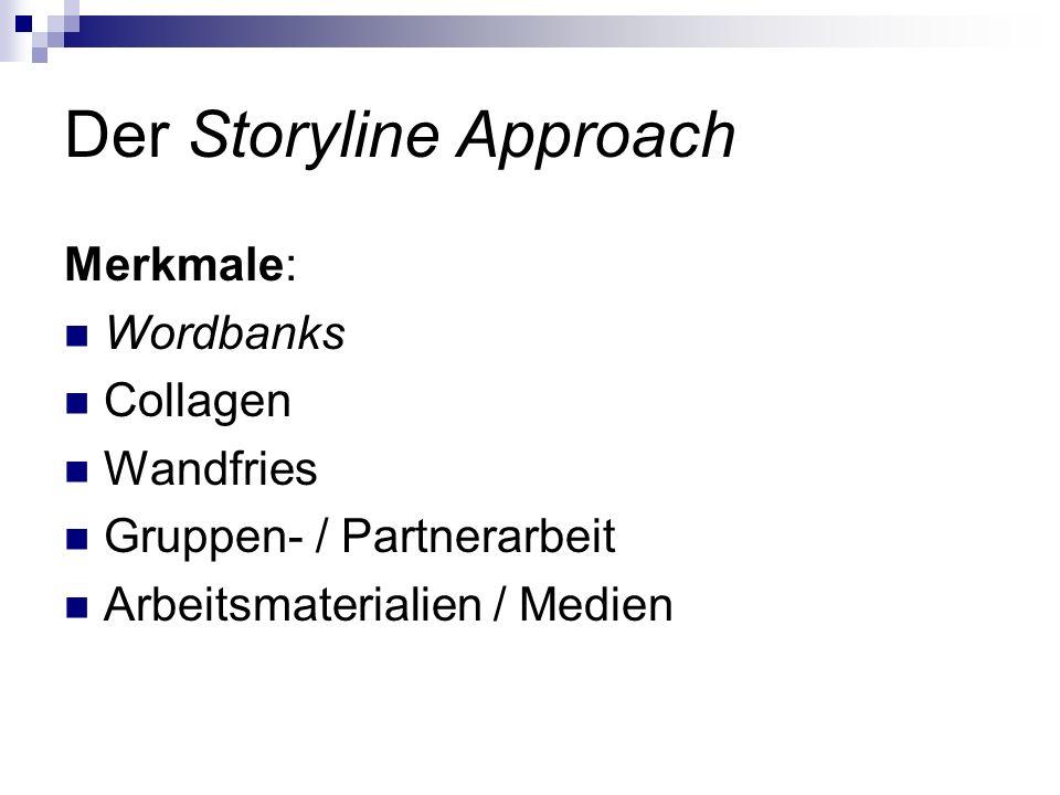 Der Storyline Approach Merkmale: Wordbanks Collagen Wandfries Gruppen- / Partnerarbeit Arbeitsmaterialien / Medien