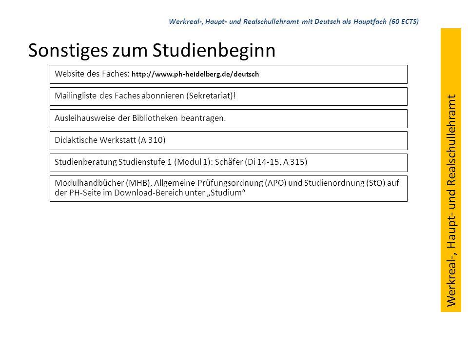 Sonstiges zum Studienbeginn Website des Faches: http://www.ph-heidelberg.de/deutsch Mailingliste des Faches abonnieren (Sekretariat)! Ausleihausweise