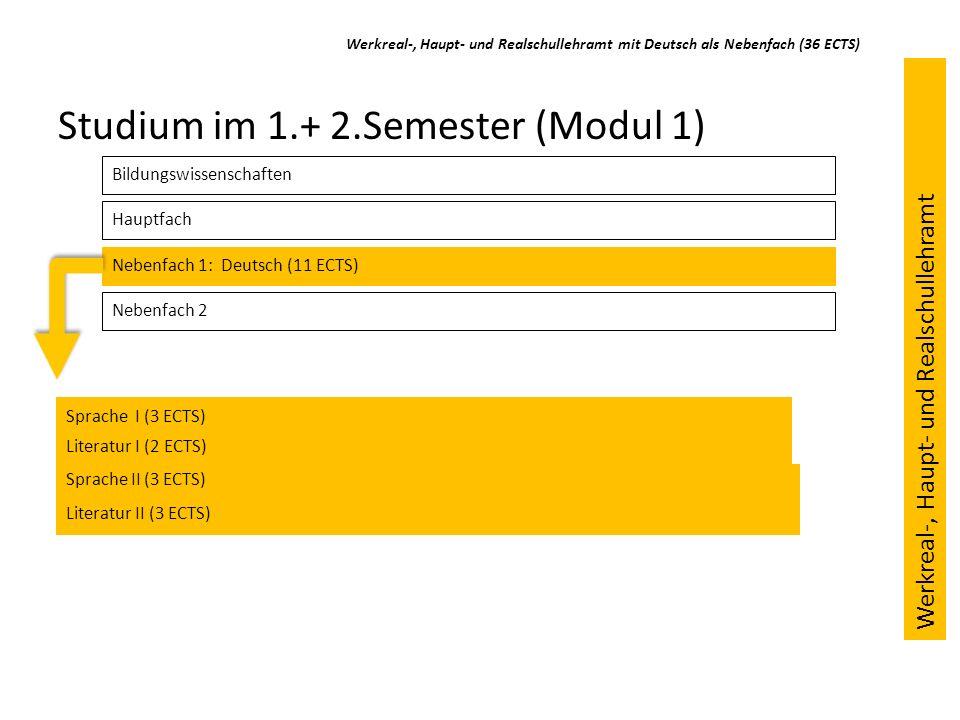 Werkreal-, Haupt- und Realschullehramt mit Deutsch als Nebenfach (36 ECTS) Studium im 1.+ 2.Semester (Modul 1) Bildungswissenschaften Hauptfach Nebenf