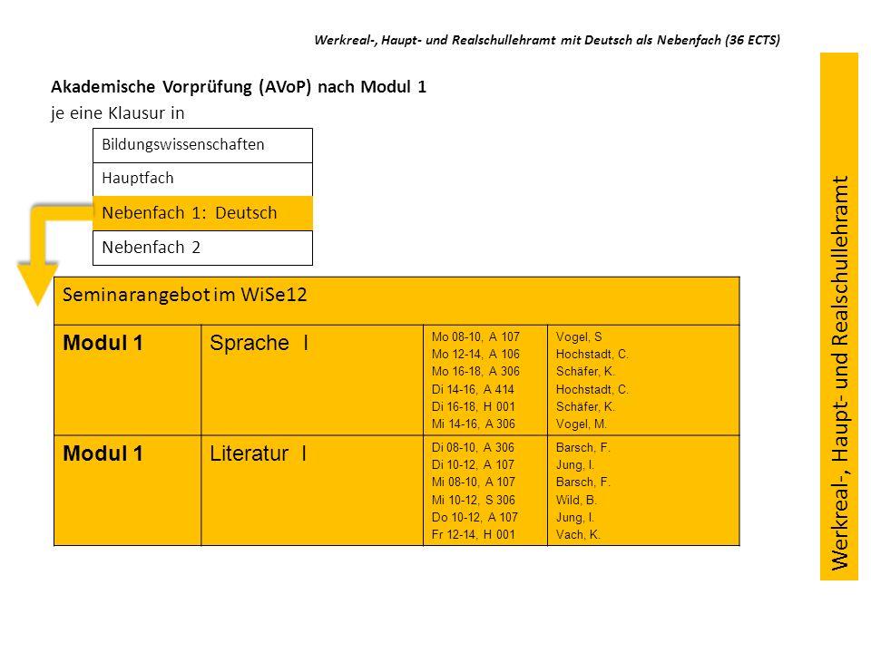 Seminarangebot im WiSe12 Modul 1Sprache I Mo 08-10, A 107 Mo 12-14, A 106 Mo 16-18, A 306 Di 14-16, A 414 Di 16-18, H 001 Mi 14-16, A 306 Vogel, S Hoc