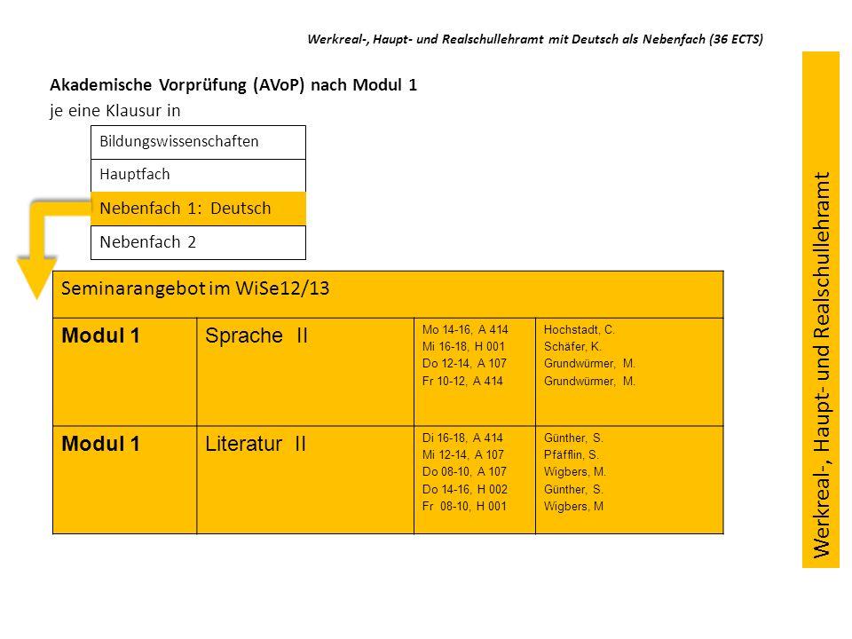 Seminarangebot im WiSe12/13 Modul 1Sprache II Mo 14-16, A 414 Mi 16-18, H 001 Do 12-14, A 107 Fr 10-12, A 414 Hochstadt, C. Schäfer, K. Grundwürmer, M