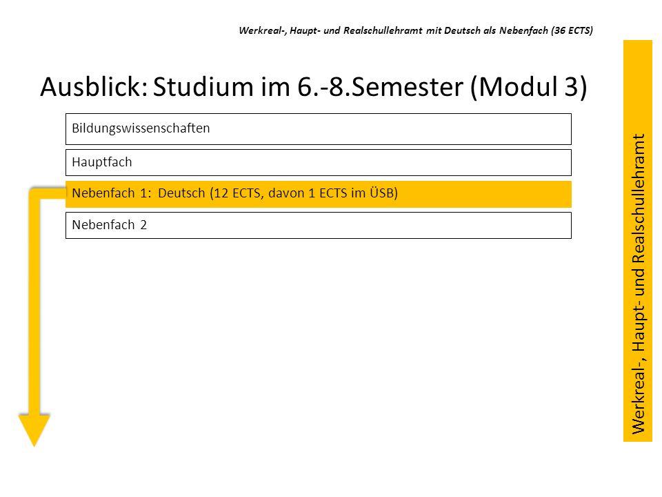 Ausblick: Studium im 6.-8.Semester (Modul 3) Bildungswissenschaften Hauptfach Nebenfach 1: Deutsch (12 ECTS, davon 1 ECTS im ÜSB) Nebenfach 2 Werkreal