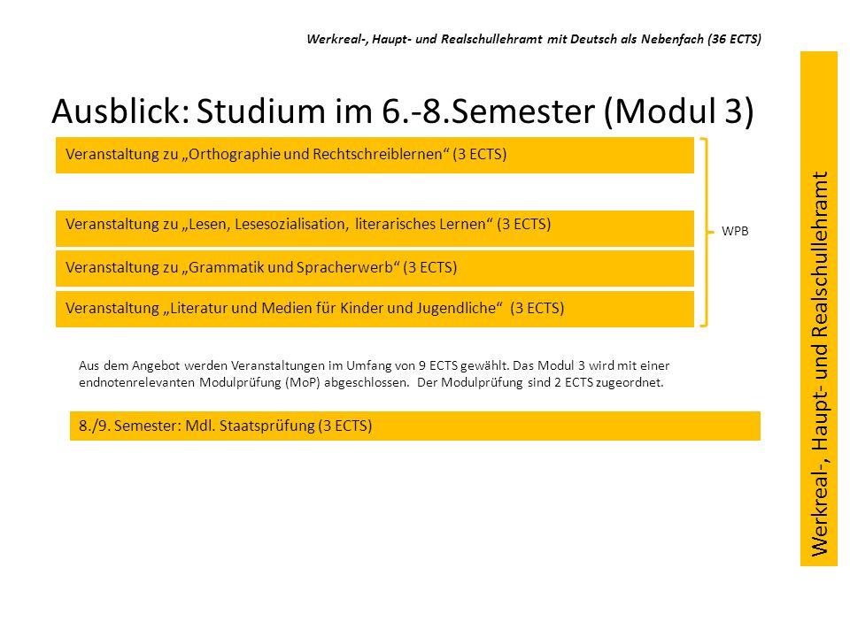 Ausblick: Studium im 6.-8.Semester (Modul 3) Veranstaltung zu Grammatik und Spracherwerb (3 ECTS) Veranstaltung zu Orthographie und Rechtschreiblernen