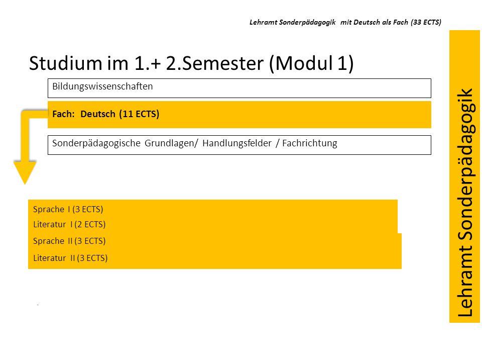 Lehramt Sonderpädagogik mit Deutsch als Fach (33 ECTS) Studium im 1.+ 2.Semester (Modul 1) Bildungswissenschaften Fach: Deutsch (11 ECTS) Sonderpädago
