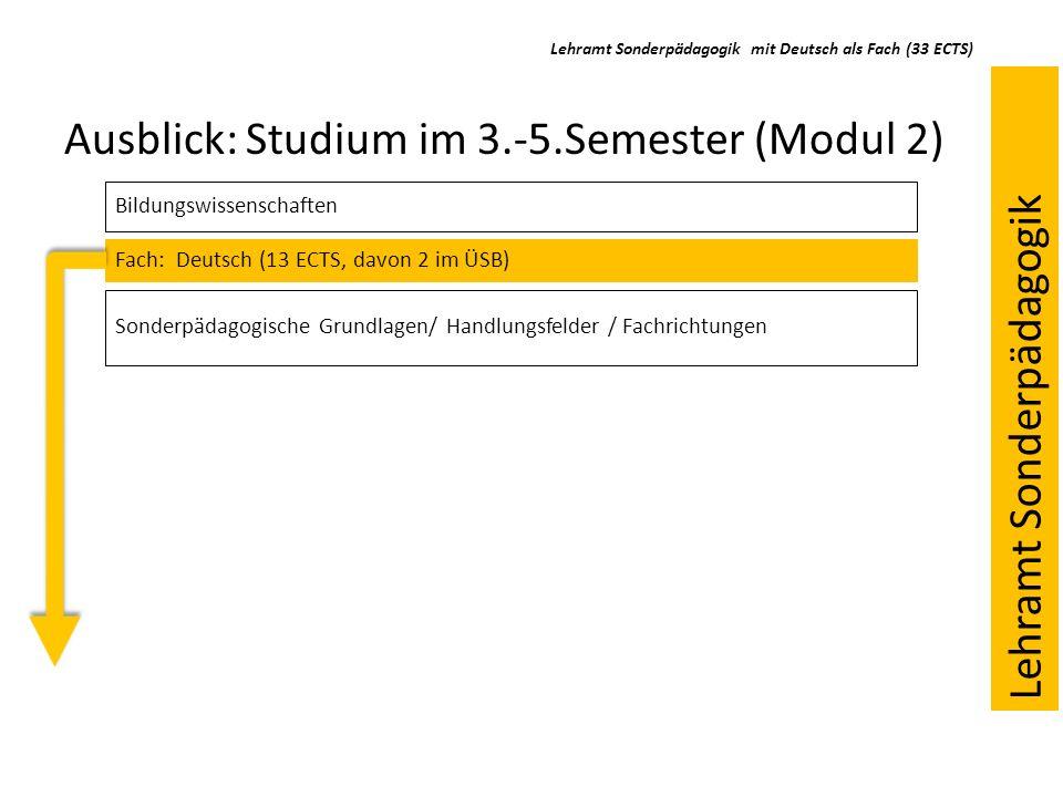 Ausblick: Studium im 3.-5.Semester (Modul 2) Bildungswissenschaften Fach: Deutsch (13 ECTS, davon 2 im ÜSB) Sonderpädagogische Grundlagen/ Handlungsfe