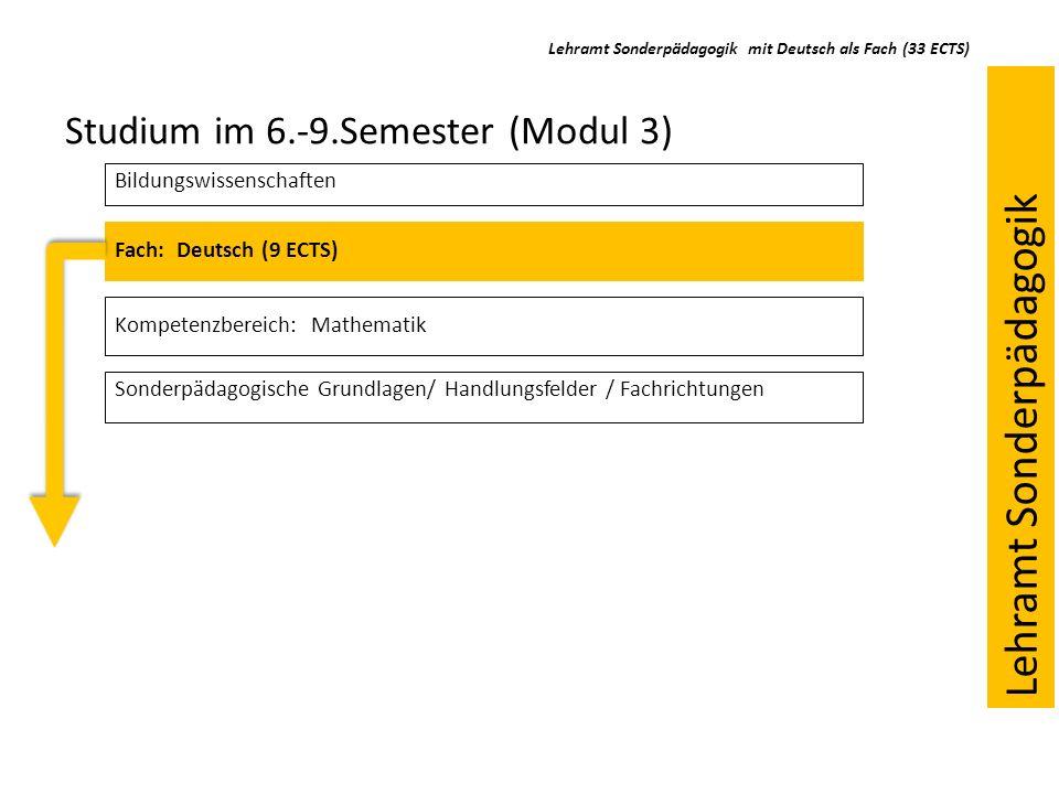 Fach: Deutsch (9 ECTS) Kompetenzbereich: Mathematik Studium im 6.-9.Semester (Modul 3) Bildungswissenschaften Sonderpädagogische Grundlagen/ Handlungs