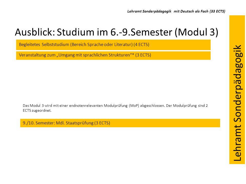 Ausblick: Studium im 6.-9.Semester (Modul 3) Veranstaltung zum Umgang mit sprachlichen Strukturen* (3 ECTS) Begleitetes Selbststudium (Bereich Sprache