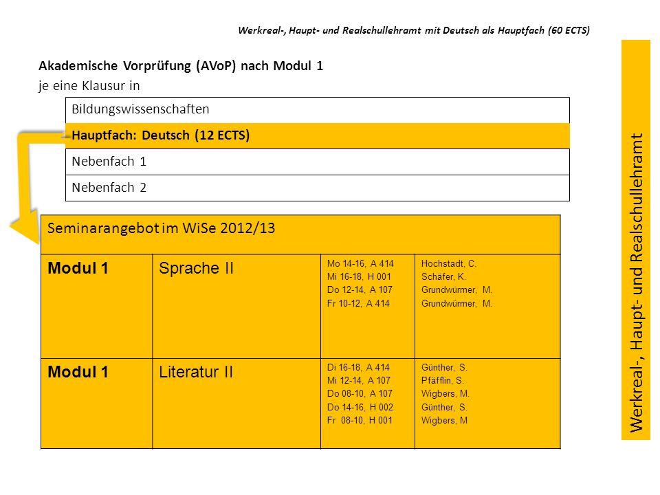 Ausblick: Studium im 3.-5.Semester (Modul 2) Bildungswissenschaften Hauptfach Nebenfach 1: Deutsch (12 ECTS, davon 1 ECTS im ÜSB) Nebenfach 2 Werkreal-, Haupt- und Realschullehramt mit Deutsch als Nebenfach (36 ECTS) Werkreal-, Haupt- und Realschullehramt