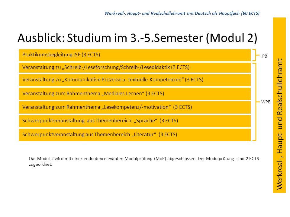 Ausblick: Studium im 6.-8.Semester (Modul 3) Bildungswissenschaften Hauptfach Nebenfach 1: Deutsch (12 ECTS, davon 1 ECTS im ÜSB) Nebenfach 2 Werkreal-, Haupt- und Realschullehramt mit Deutsch als Nebenfach (36 ECTS) Werkreal-, Haupt- und Realschullehramt