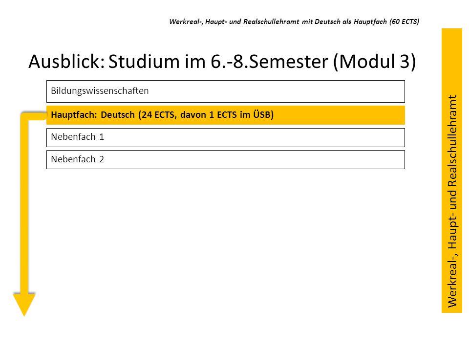 Ausblick: Studium im 6.-8.Semester (Modul 3) Bildungswissenschaften Hauptfach: Deutsch (24 ECTS, davon 1 ECTS im ÜSB) Nebenfach 1 Werkreal-, Haupt- un
