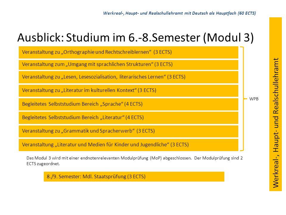 Ausblick: Studium im 6.-8.Semester (Modul 3) Veranstaltung zum Umgang mit sprachlichen Strukturen (3 ECTS) Veranstaltung zu Grammatik und Spracherwerb