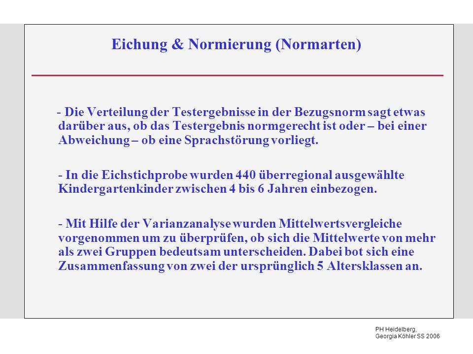 PH Heidelberg, Georgia Köhler SS 2006 Eichung & Normierung (Normarten) - Die Verteilung der Testergebnisse in der Bezugsnorm sagt etwas darüber aus, ob das Testergebnis normgerecht ist oder – bei einer Abweichung – ob eine Sprachstörung vorliegt.