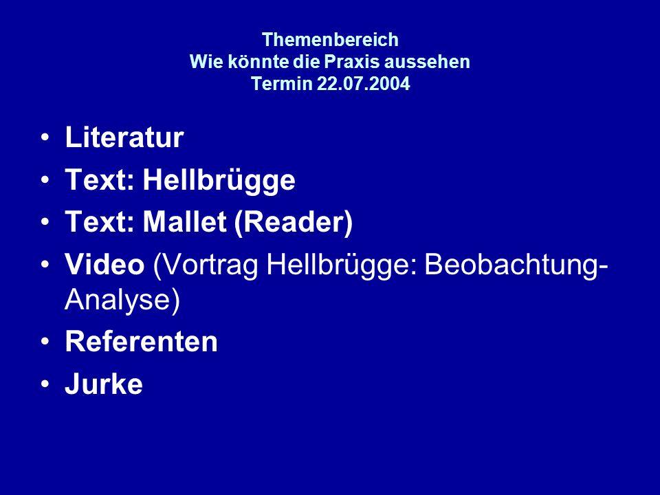 Themenbereich Wie könnte die Praxis aussehen Termin 22.07.2004 Literatur Text: Hellbrügge Text: Mallet (Reader) Video (Vortrag Hellbrügge: Beobachtung