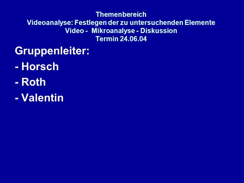 Themenbereich Videoanalyse: Festlegen der zu untersuchenden Elemente Video - Mikroanalyse - Diskussion Termin 24.06.04 Gruppenleiter: - Horsch - Roth