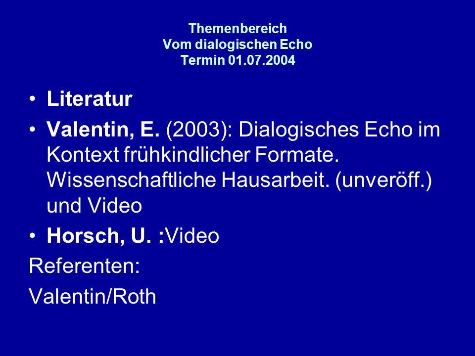 Themenbereich Vom dialogischen Echo Termin 01.07.2004 Literatur Valentin, E. (2003): Dialogisches Echo im Kontext frühkindlicher Formate. Wissenschaft