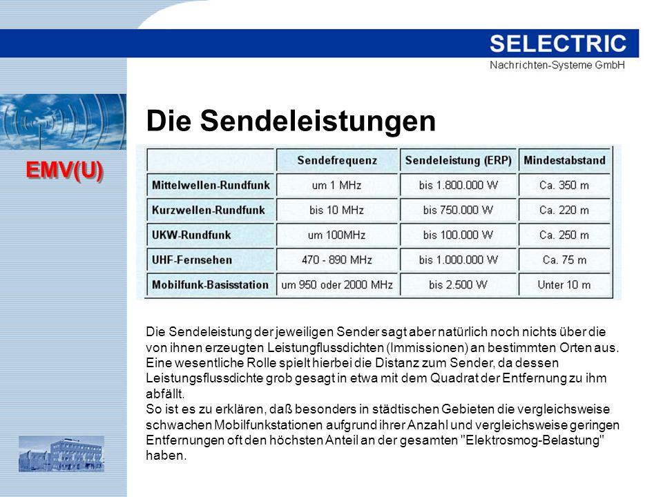 EMV(U) Die Sendeleistung der jeweiligen Sender sagt aber natürlich noch nichts über die von ihnen erzeugten Leistungflussdichten (Immissionen) an best