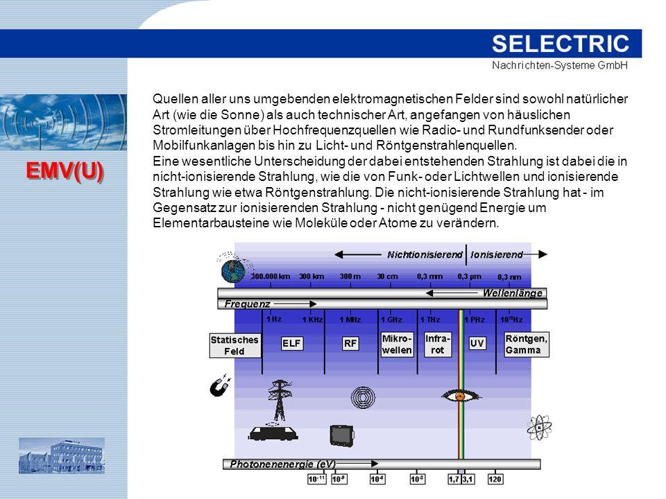 EMV(U) Quellen aller uns umgebenden elektromagnetischen Felder sind sowohl natürlicher Art (wie die Sonne) als auch technischer Art, angefangen von hä