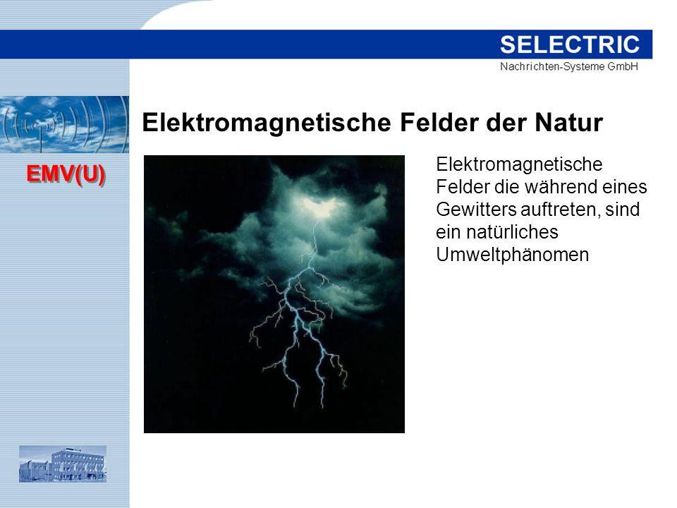 EMV(U) Elektromagnetische Felder der Natur Elektromagnetische Felder die während eines Gewitters auftreten, sind ein natürliches Umweltphänomen