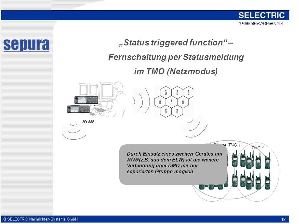 12 Status triggered function – Fernschaltung per Statusmeldung im TMO (Netzmodus) NiTD Gruppe TMO 1 Einzelne Geräte im TMO 1 erhalten vom NiTD eine Statusanweisung, wodurch sich die Geräte automatisch in eine DMO-Gruppe separieren..