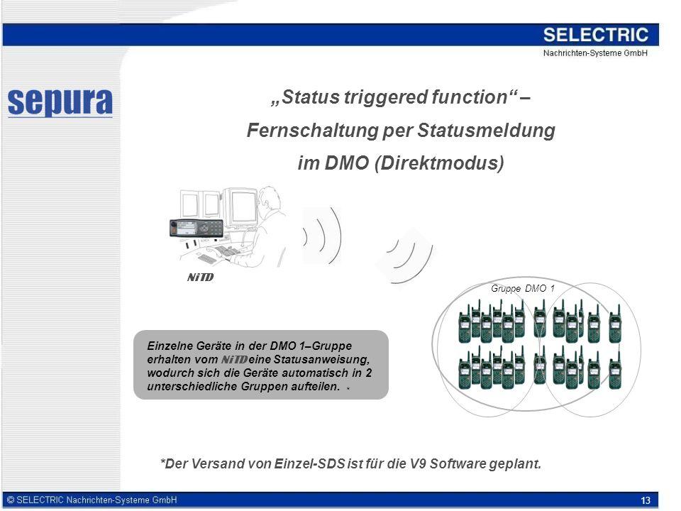 13 Status triggered function – Fernschaltung per Statusmeldung im DMO (Direktmodus) Gruppe DMO 1 Einzelne Geräte in der DMO 1–Gruppe erhalten vom NiTD eine Statusanweisung, wodurch sich die Geräte automatisch in 2 unterschiedliche Gruppen aufteilen.
