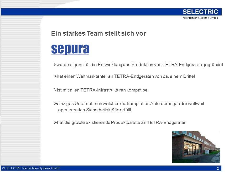 2 Ein starkes Team stellt sich vor wurde eigens für die Entwicklung und Produktion von TETRA-Endgeräten gegründet hat einen Weltmarktanteil an TETRA-Endgeräten von ca.