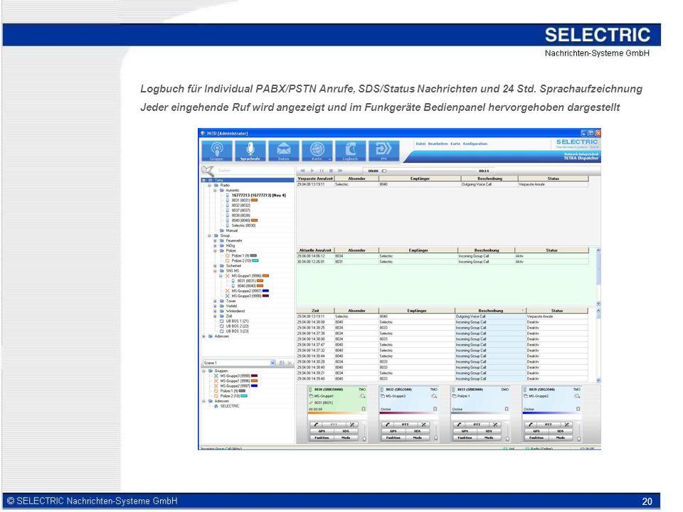 20 Logbuch für Individual PABX/PSTN Anrufe, SDS/Status Nachrichten und 24 Std.