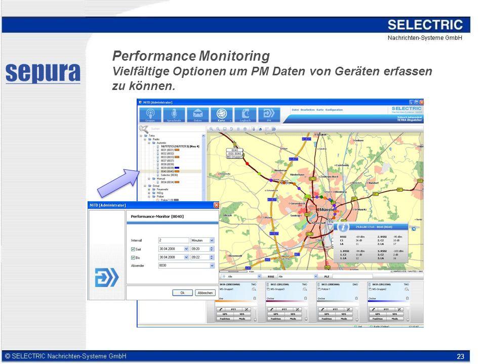 23 Performance Monitoring Vielfältige Optionen um PM Daten von Geräten erfassen zu können.
