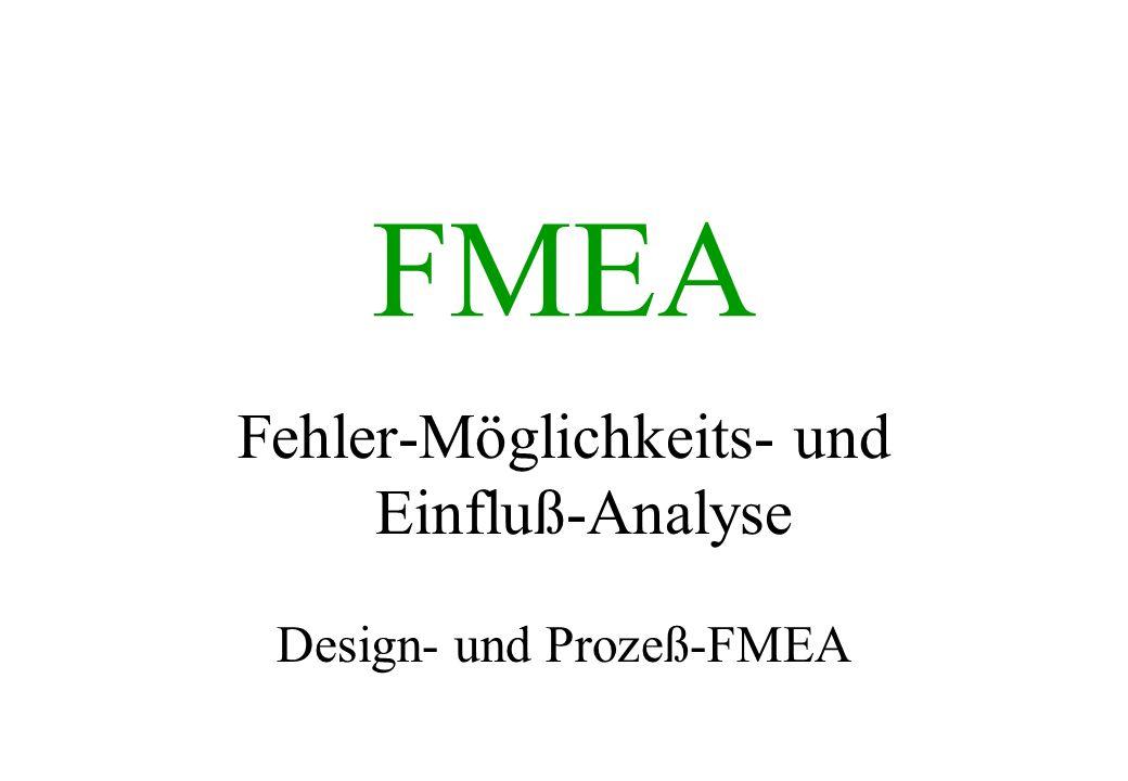 Bewertungstabelle für Prozeß-FMEA Bedeutung (B), Produktion/ MontageAuftreten (A) Entdeckunsmethoden Sicherheitsrisiko, der Fehler kann den Werker (an der Maschine oder in der Montage) gefährden.