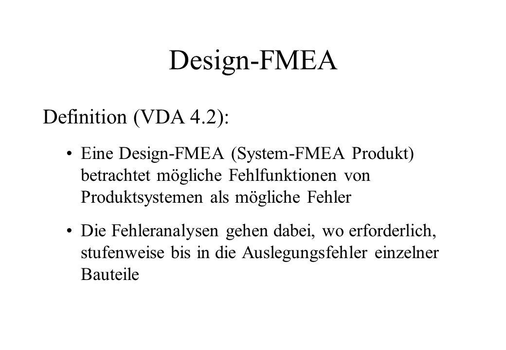 Design-FMEA Definition (VDA 4.2): Eine Design-FMEA (System-FMEA Produkt) betrachtet mögliche Fehlfunktionen von Produktsystemen als mögliche Fehler Di