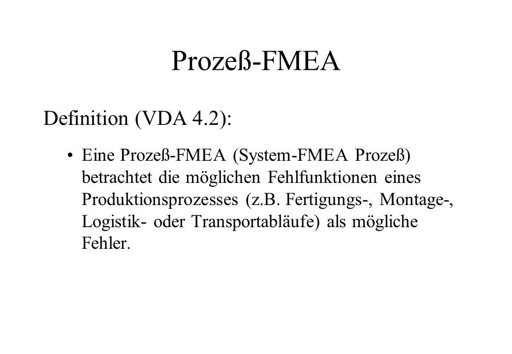 Prozeß-FMEA Definition (VDA 4.2): Eine Prozeß-FMEA (System-FMEA Prozeß) betrachtet die möglichen Fehlfunktionen eines Produktionsprozesses (z.B. Ferti