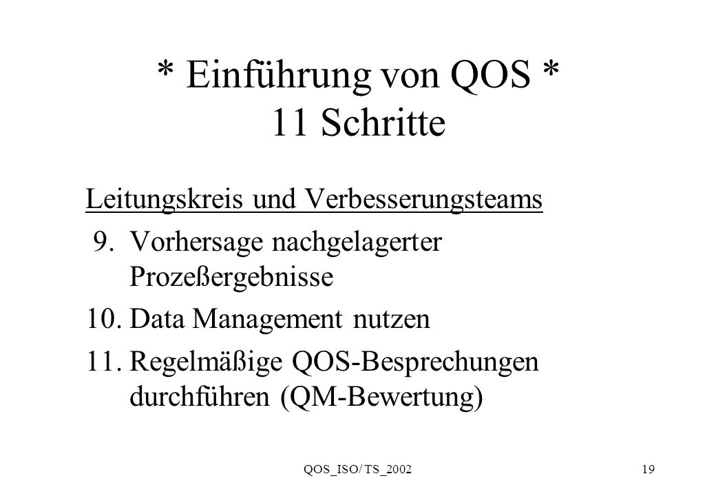 QOS_ISO/ TS_200219 * Einführung von QOS * 11 Schritte Leitungskreis und Verbesserungsteams 9. Vorhersage nachgelagerter Prozeßergebnisse 10. Data Mana