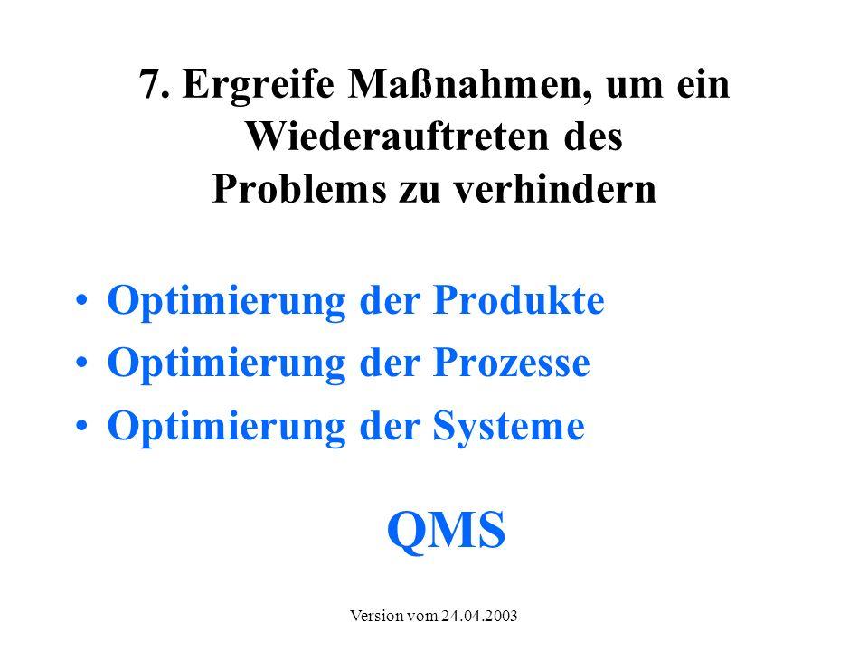 Version vom 24.04.2003 7. Ergreife Maßnahmen, um ein Wiederauftreten des Problems zu verhindern Optimierung der Produkte Optimierung der Prozesse Opti