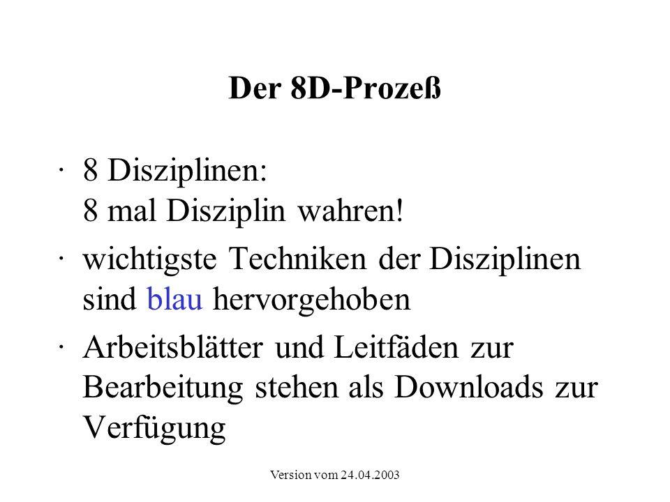 Version vom 24.04.2003 Der 8D-Prozeß 8 Schritte der Bearbeitung 8 Disziplinen Status der Problembearbeitung Zusammenfassung der Arbeit 8D-Bericht