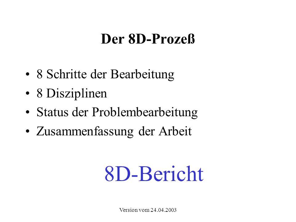 Version vom 24.04.2003 Der 8D-Prozeß Reihenfolge der Schritte D.0 D.1 D.2 D.3 D.4D.5D.6D.7D.8 TEAMTEAM TEMPTEMP