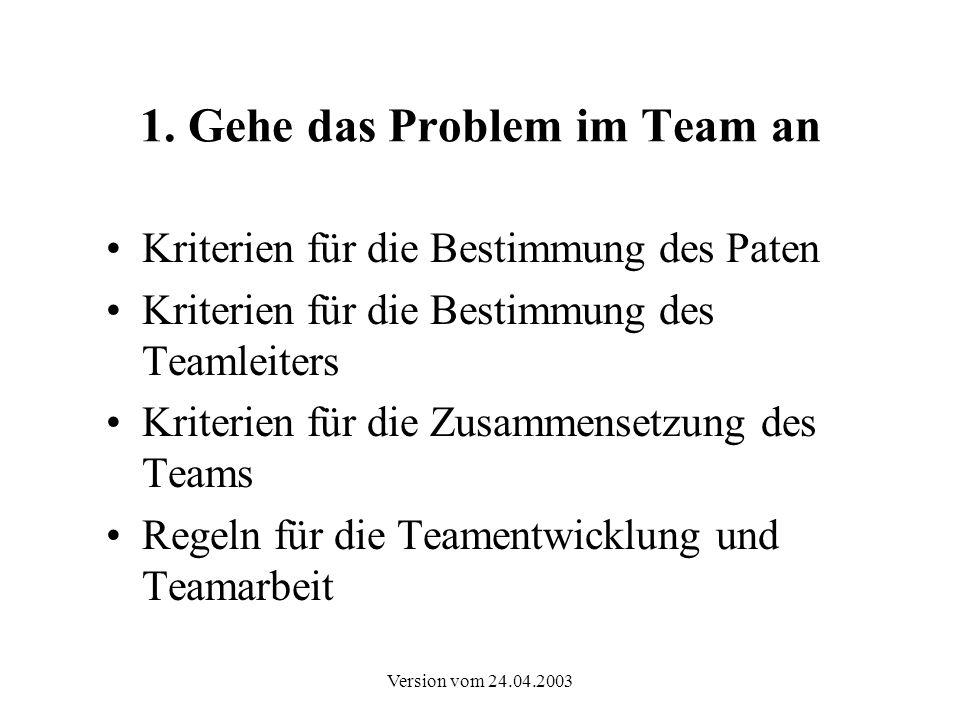 Version vom 24.04.2003 1. Gehe das Problem im Team an Kriterien für die Bestimmung des Paten Kriterien für die Bestimmung des Teamleiters Kriterien fü
